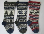 Knitted Christmas Stockings personalized Set of 3 Fair isle customized personalized Holiday stockings made to order