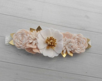 Wool Felt Flower Crown in Wheat, Off White and White - Flower Headband - Baby Headband -Hair accessories- 6 inch flower crown