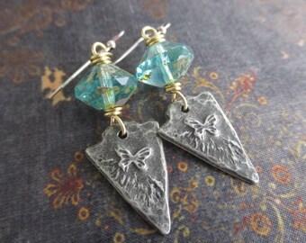 Rustic butterfly earrings - Flutter  - aqua glass artisan dangle earrings summer boho by slashKnots