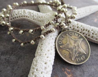 Coin starfish crochet necklace - Priceless - neutral silver layering necklace crocheted genuine coin nautical beach boho by slashKnots