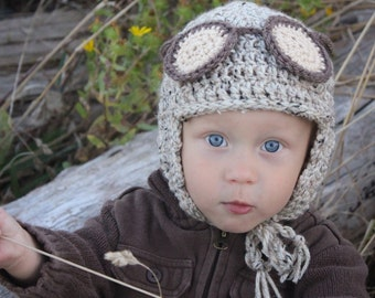 Aviator CROCHET HAT PATTERN: Boy's Pilot Hat, Kid's Winter Fashion