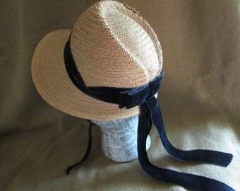 Straw Bonnet with Navy Blue Velvet Ribbon  1940's New York Creations