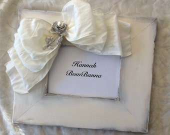 Bridal Frame Bow Jewel Rustic White Rose Pearl Diamond Personalize Country Barn Wedding