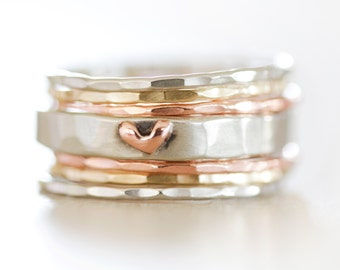 Stacking Rings / Stack Rings / Heart / Gift for Her / Girlfriend / Wife Gift / Anniversary Gift / Stacking Ring Set / Gold Stacking / Love