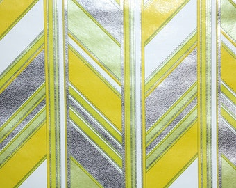 Retro Wallpaper by the Yard 70s Vintage Mylar Wallpaper – 1970s Yellow Chartreuse and White Chevron Geometric Mylar