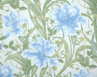 Retro Wallpaper by the Yard 70s Vintage Wallpaper - 1970s Tropical Blue Flowers