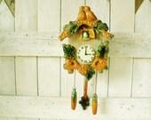 Vintage cuckoo clock wall pocket vase ceramic