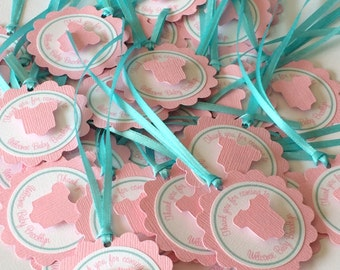 Pink and Aqua Baby Shower Favor Tags for Nail Polish - It's A Girl - Baby Onesie