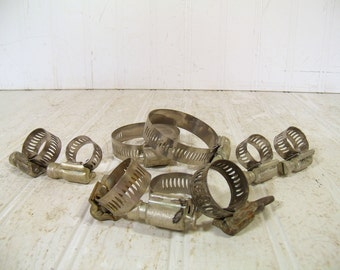 Vintage Collection of 9 Metal Aero-Seal Clamps in Assorted Sizes - Stainless Steel Bands for Steampunk Projects Group of 9 - Mixed Media Art