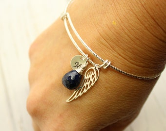 Sterling Silver Angel Wing Birthstone Initial Bangle Bracelet... Choose Your Personalized Birthstone and Initial