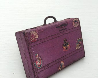 Purple Suitcase Retro Travelling Holiday Camping World Travel Beach Seaside Wooden Brooch Pin Birthday Gift Wood Present Unique for Her Him
