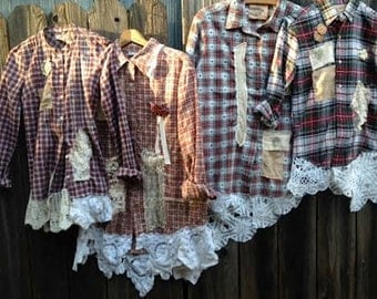 CUSTOM example mother daughter Valentine red plaid holiday romantic lace boho rustic prairie barn country shabby winter fashion shirts