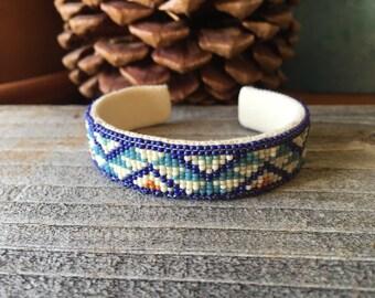 Southwestern seed beaded cuff bracelet// cuff//Navajo inspired bracelet//Navajo loom cuff//brass cuff bracelet//leather cuff//suede cuff bra