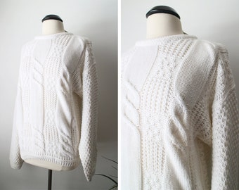 Vintage NEW OLD Stock Cream Chunky Oversized Cable Knit Sweater Size L Ramie Cotton Blend