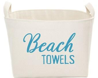 NEW! Beach Towels Canvas Storage Bin - canvas laundry basket handmade in USA