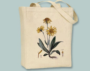 Arinca Flower Vintage Illustration Canvas Tote - selection of sizes available