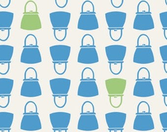 Millie's Closet C2844 Blue Purses and Handbags By Lori Holt For Riley Blake Cotton Quilt Craft Apparel Retro Novelty