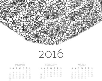 Abstract Contemporart Art 2016 Wall Calendar in Black and White