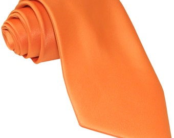 Men's Solid Orange Big & Tall Extra Long Necktie, for Formal Occasions