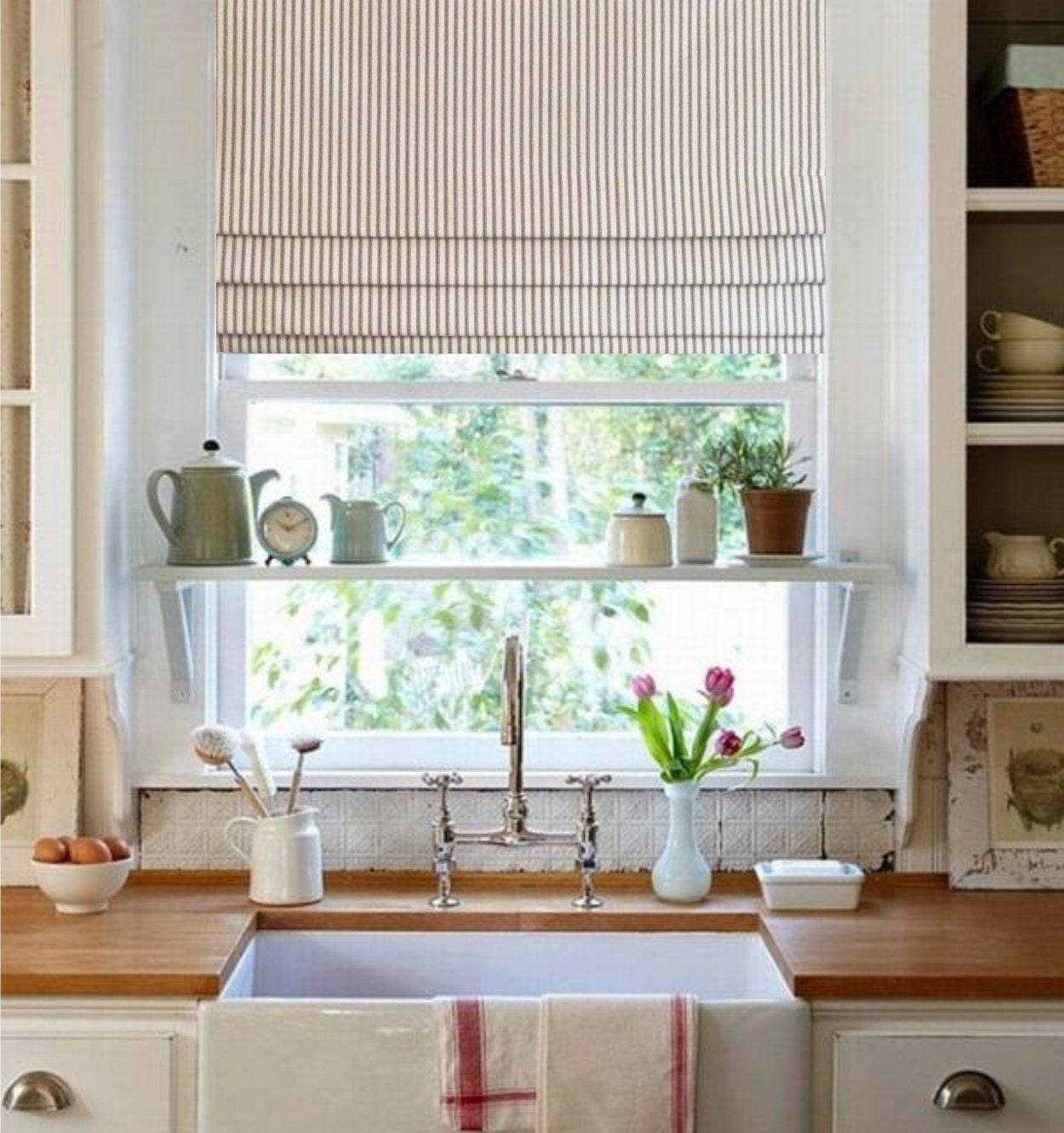 Grey Kitchen Roman Blind: Faux Roman Shade Gray/ Ivory Ticking Stripe Lined Mock