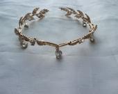 Gold Bridal Tiara, Wedding Crown Tiara, Gold Bridal Headpiece, Hair accessory, Bridal Headpiece