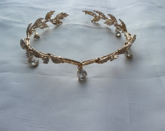Gold Bridal Tiara, Wedding Crown Tiara, Gold Bridal Headpiece, Hair accessory, Bridal Headpiece