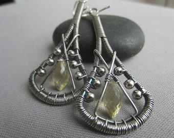 SALE 20% OFF/ Silver Wire Earrings/ Silver Wire Earrings with Champagne Quartz/ Artisan Earrings/ Wire Wrapped Earrings/Quartz Earrings