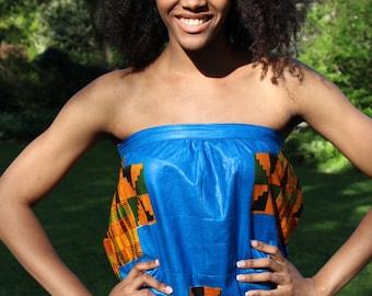 African Print Kente dress, Strapless dress