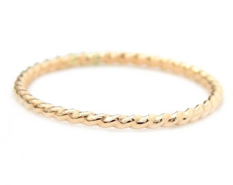 14K Gold Twisted Rope Ring: 14K gold ring, twisted ring, dainty ring, stacking ring, skinny ring, small ring, rope ring, promise ring