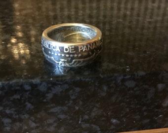 1953 panama half balboa coin ring