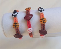 Birthday party favors loot bag party pack of 3 loom rubber band bracelets sports theme