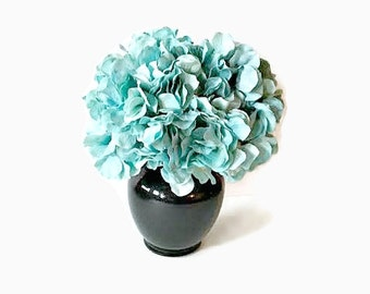 Turquoise Arrangement, Floral Arrangement, Home Decor, Faux Florals, Floral Decor, Aqua Hydrangeas, Hydrangea Arrangement