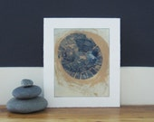 "Sale . Art Print . Navy Blue and Adobe Fine Art Etching . Reel: Print Size 11"" x 13"". Unframed ."