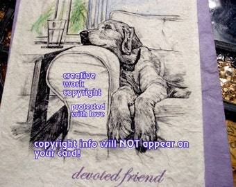devoted friend/ golden retriever/I love my Golden/ storybook /personalize/sentimental cards/unique empathy condolence cards