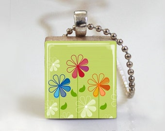 Green Floral Spring - Scrabble Tile Pendant - Free Ball Chain Necklace or Key Ring