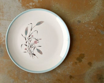 Mid Century Plate, Vintage Homer Laughlin Spring Garden Duratone, Blue Pink Wheat Sheaves Plate