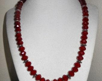 "Ruby Quartz ""Red Velvet crystal"" Necklace/Womens red velvet crystal with spacers/Ladies Ruby Quartz necklace/AKA Red velvet crystals"