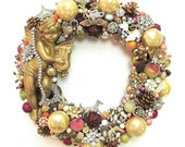 Vintage Rhinestone Jewelry Wreath for Fall & Winter w/ Glass Ornaments, Angel, Fruit, Pine Cones