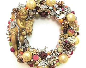 Vintage Rhinestone Jewelry Wreath for Fall & Winter w/ Glass Ornaments, Angel, Fruit, Pine Cones