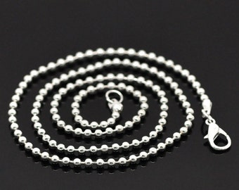 """12 Silver Plated BALL CHAIN Necklaces, lobster clasp, 24"""" long, 2.4mm, FCH0387"""