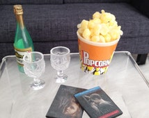 6 pc Romantic Movie Evening Set with wine bottle, glasses, dvds and popcorn for one sixth scale