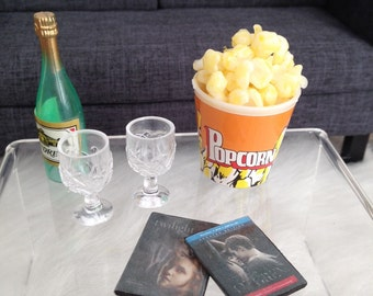 1:6 Scale 6 pc Romantic Movie Evening Set with wine bottle, glasses, dvds and popcorn for 12 inch fashion dolls