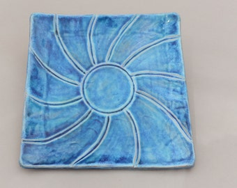 Passover Matzah Plate - Blue Earthenware Hand Carved Platter
