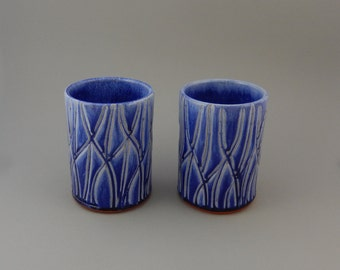 Pottery Tumbler Set - Blue Earthenware Pair of Ceramic Cups