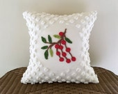 Vintage chenille pillow cover 18 x 18 CHRISTMAS CHERRIES red cushion cover cottage chic