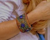 Crazy Quilt Embroidery silk embellished bracelet with mandala motif
