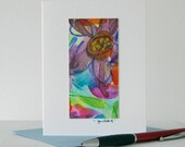 Floral Abstract Watercolor Art Notecard // Original Art