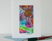 Floral abstrait aquarelle Art Notecard / / Original Art