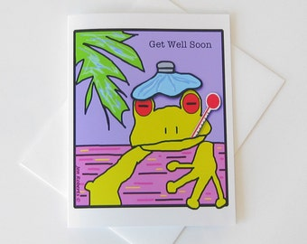 Get Well Soon Card // Printed Art Notecards // Yellow Tree Frog Line Drawing