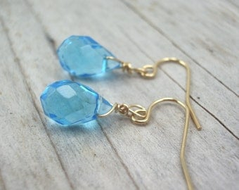 sky blue glass earrings  jewelry  earrings-bridesmaid earrings- teardrop  earrings
